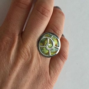 Sterling silver ring in shape of seashell